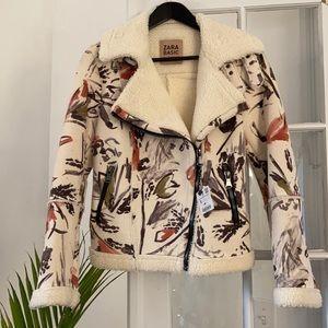 Zara Faux Shearling Lined Faux Suede Jacket